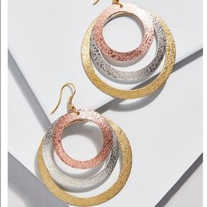 ModCloth Metal Tricolor Hoop Earrings